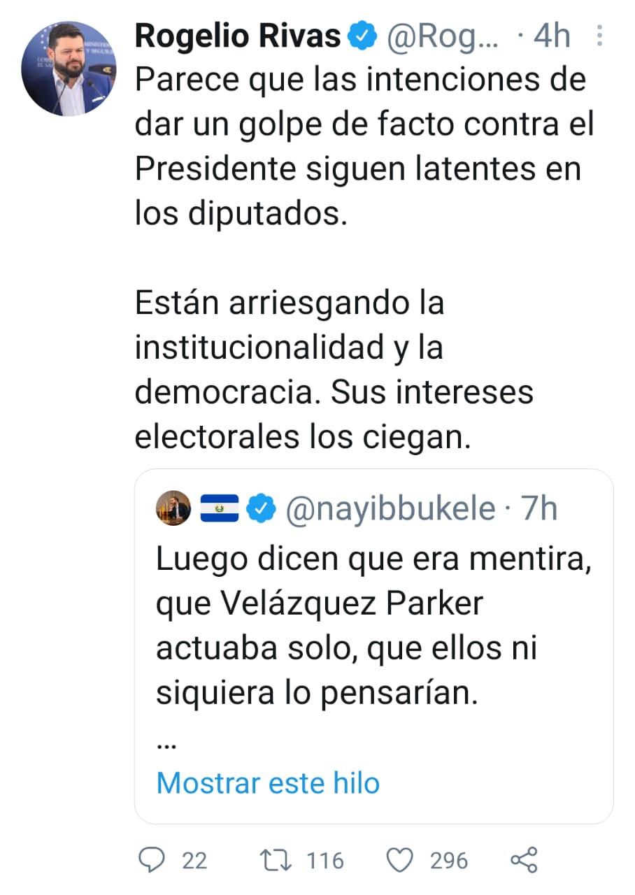 Rogelio Rivas dice que diputados no han abandonado la idea de un golpe de Estado