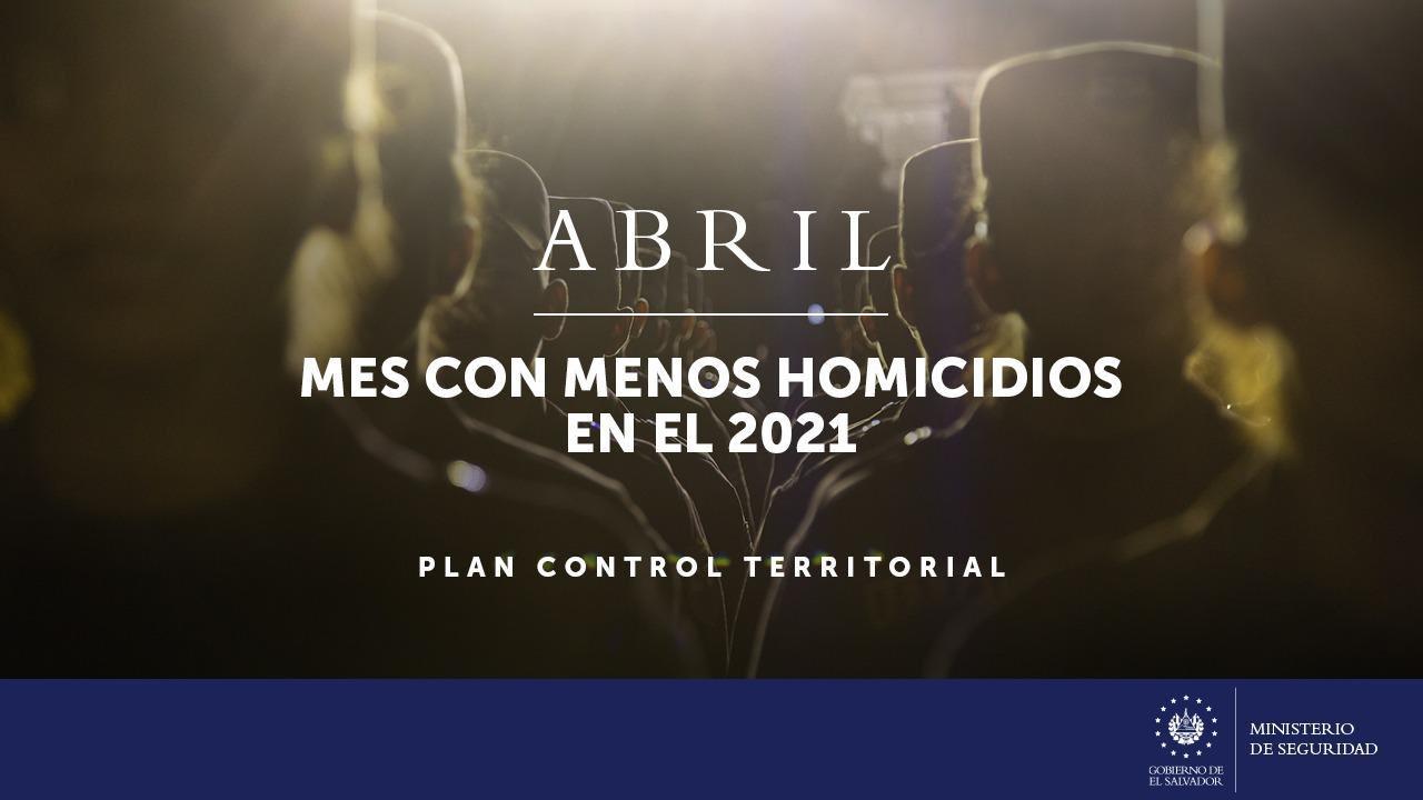 Abril, el mes con menos homicidios del 2021