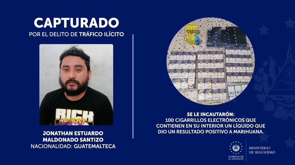 Guatemalteco pretendía introducir al país cigarrillos electrónicos con líquido positivo a marihuana
